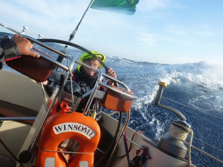 Harry helming 35 knots West of Sicily